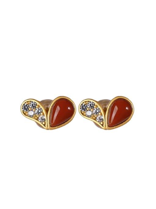 DEER 925 Sterling Silver Carnelian Heart Cute Stud Earring 3