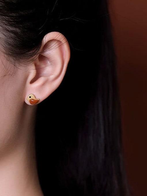 DEER 925 Sterling Silver Carnelian Bird Cute Stud Earring 1