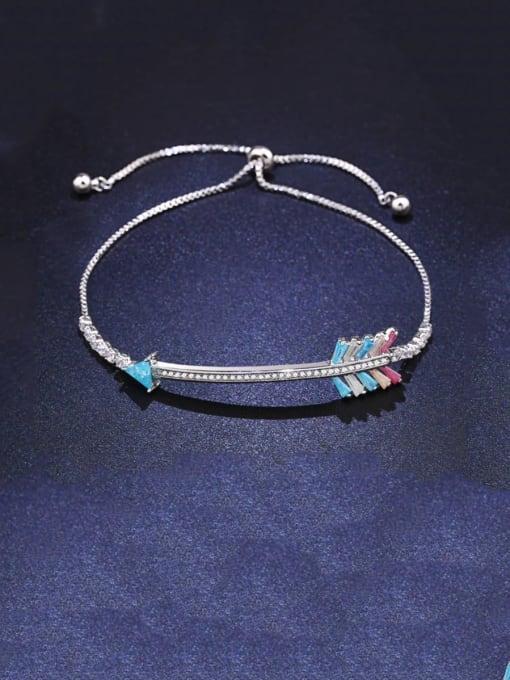 platinum Brass Cubic Zirconia Irregular Dainty Adjustable Bracelet