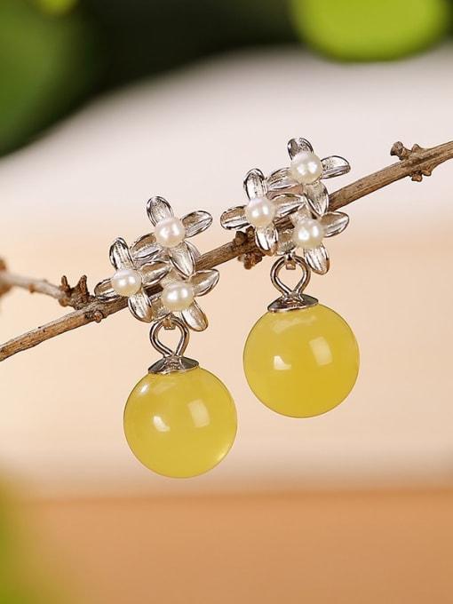 DEER 925 Sterling Silver Opal Flower Vintage Drop Earring 2