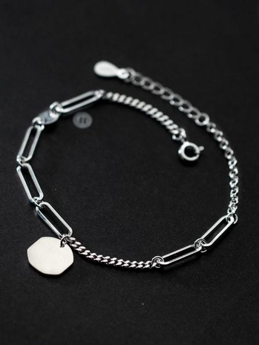 Rosh 925 Sterling Silver Hollow Geometric Minimalist Adjustable Bracelet 2