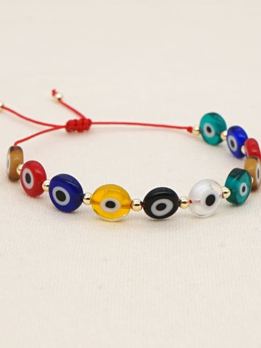 Roxi Multi Color Glass Stone  Evil Eye Bohemia Adjustable Bracelet 1