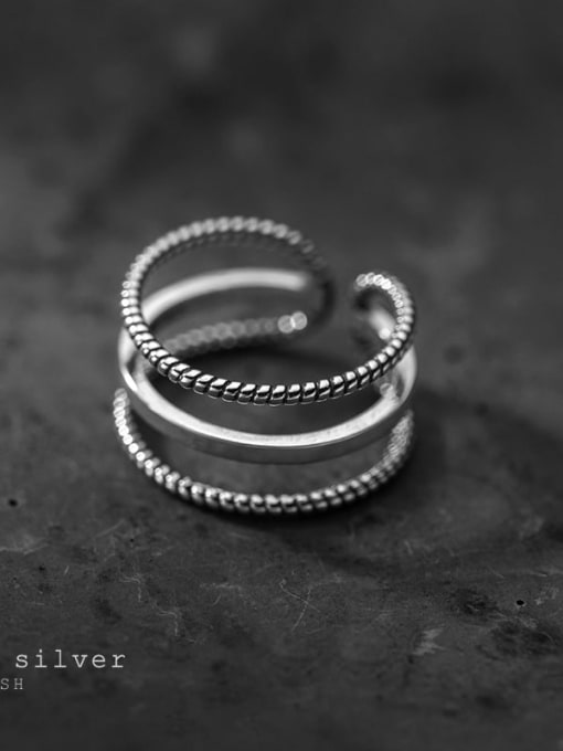 Rosh 925 Sterling Silver Geometric Minimalist Stackable Ring