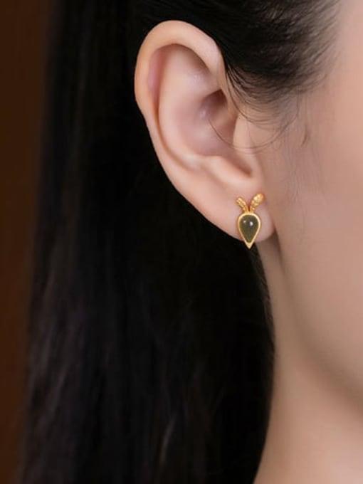 DEER 925 Sterling Silver Jade  Vintage  Carrot Stud Earring 1