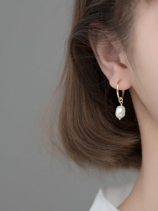 Rosh 925 Sterling Silver Imitation Pearl Geometric Minimalist Huggie Earring 1