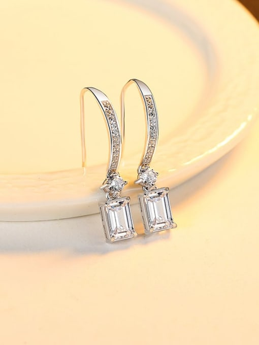 platinum 925 Sterling Silver Cubic Zirconia Geometric Minimalist Hook Earring