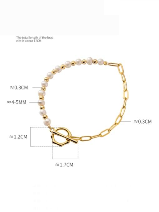 Rosh 925 Sterling Silver Freshwater Pearl Geometric Minimalist Beaded Bracelet 4