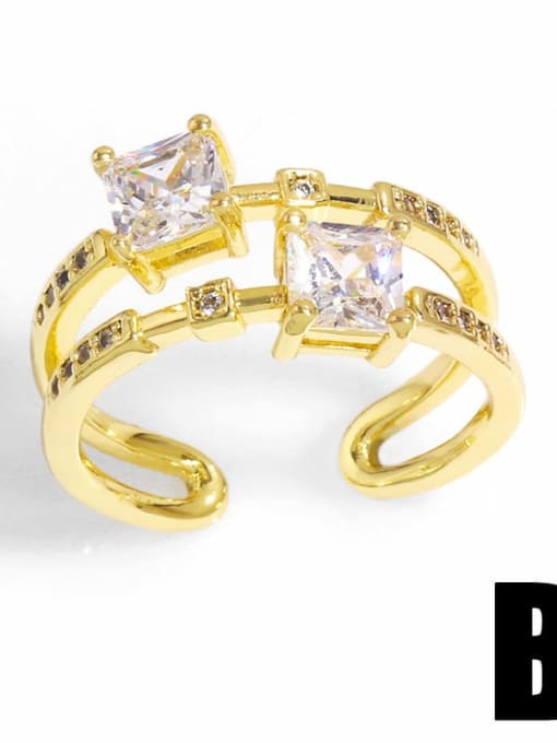 B Brass Cubic Zirconia Bowknot Trend Band Ring