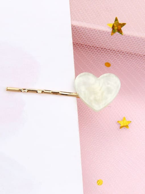 Love water green Alloy Cellulose Acetate Minimalist Heart Hair Pin