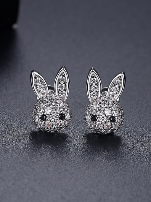 Platinum t05h28 Copper Cubic Zirconia rabbit Luxury Stud Earring