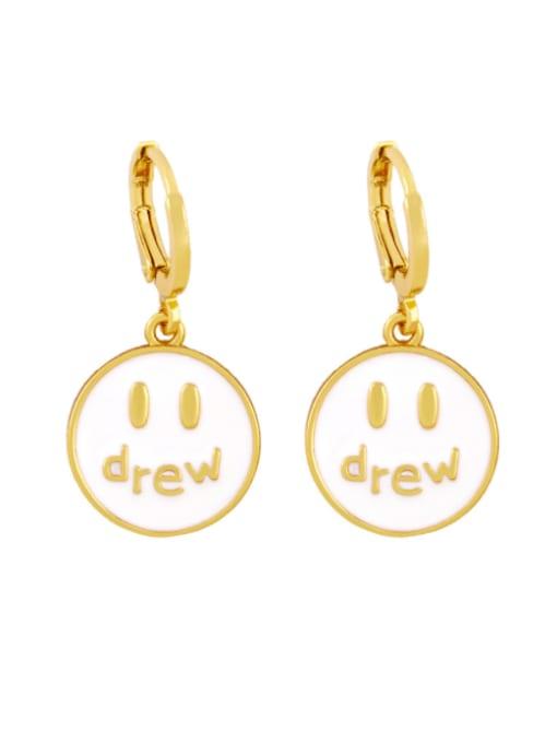 CC Brass Enamel Round Hip Hop Huggie Earring