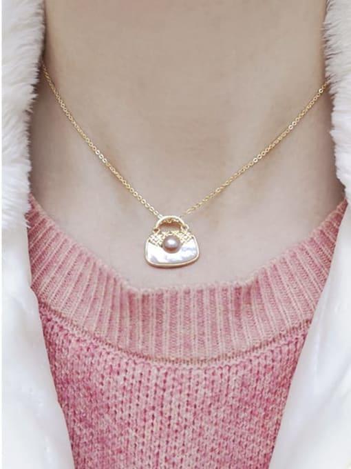 RAIN Brass Shell Square Bag Minimalist Pendant Necklace 1