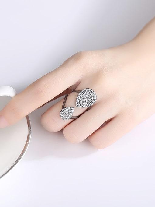BLING SU Copper Cubic Zirconia Geometric Luxury Band Ring 1