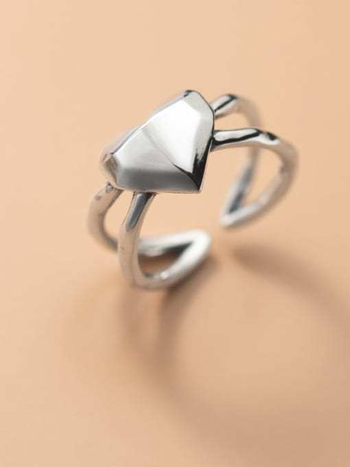 Rosh 925 Sterling Silver Heart Minimalist Band Ring