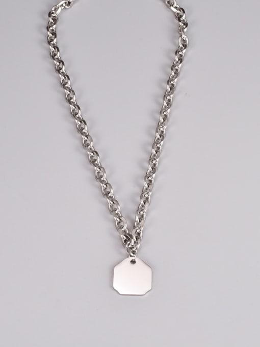 A TEEM Titanium Steel Letter Hip Hop Hollow Chain Necklace 3