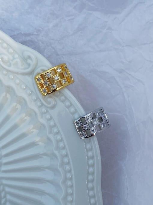 LI MUMU Brass Rhinestone Geometric Vintage Stud Earring 3