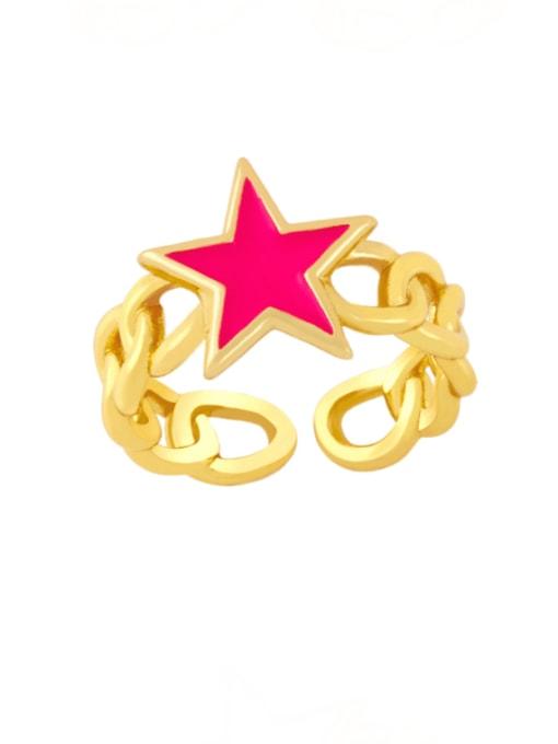 Rose red Brass Enamel Star Vintage Band Ring