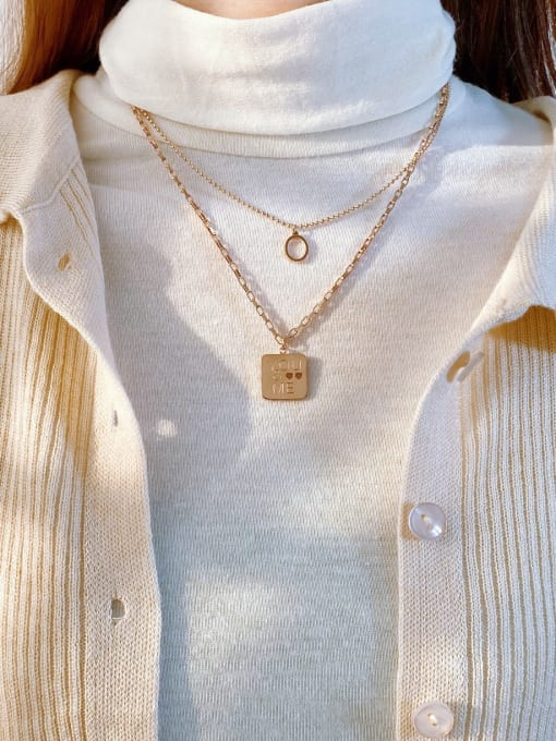 Open Sky Titanium Steel Message Minimalist Multi Strand Necklace 2