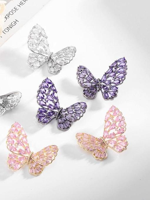 Luxu Brass Cubic Zirconia Butterfly Statement Stud Earring 1
