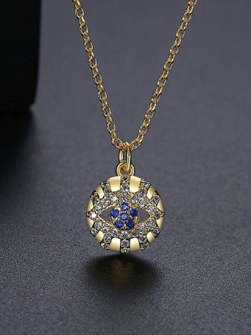18K T10I19 Brass Cubic Zirconia Round Vintage Necklace