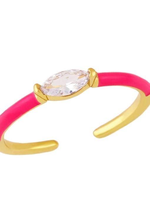 Rose red Brass Enamel Cubic Zirconia Geometric Minimalist Band Ring
