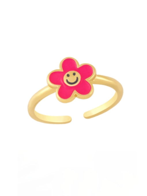 Rose red Brass Enamel Smiley Minimalist Band Ring