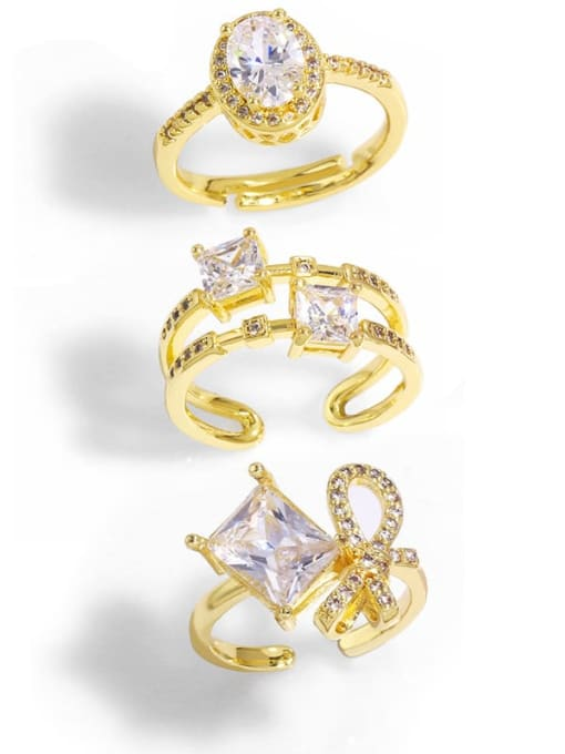 CC Brass Cubic Zirconia Bowknot Trend Band Ring