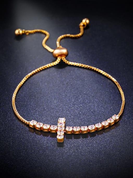 golden Brass Cubic Zirconia Cross Vintage Adjustable Bracelet