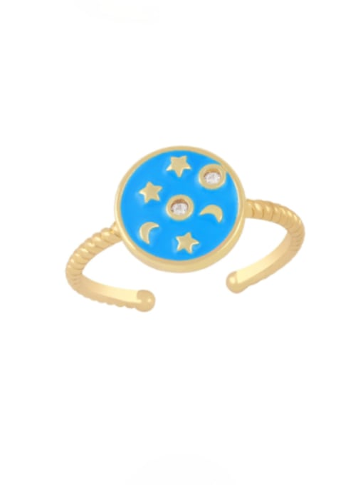 blue Brass Enamel Star Vintage Band Ring