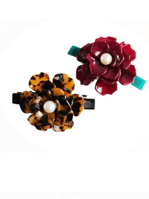 HUIYI Cellulose Acetate Minimalist Flower Zinc Alloy Spring clip Hair Barrette 0