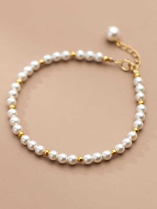 Rosh 925 Sterling Silver Imitation Pearl Geometric Minimalist Beaded Bracelet 1