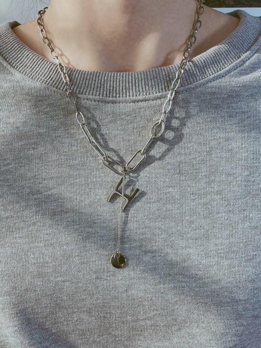 Open Sky Titanium Steel Letter Minimalist Lariat Necklace 3