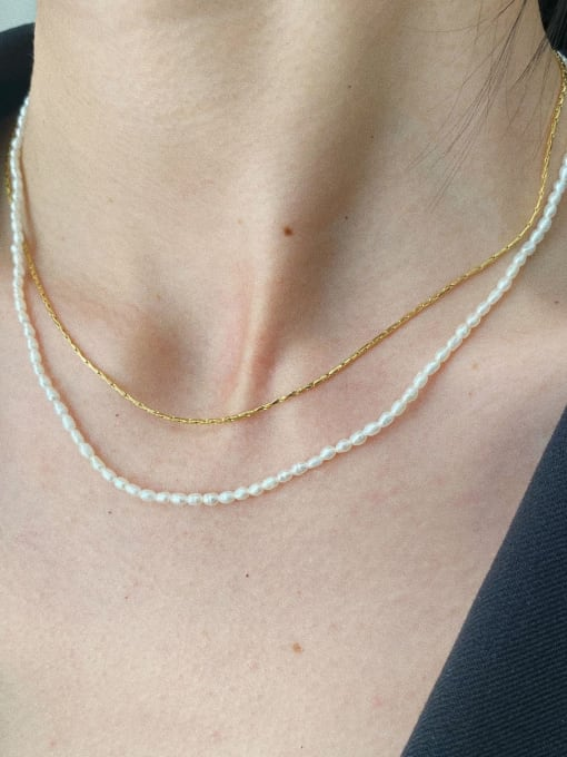 LI MUMU Titanium Steel Imitation Pearl Geometric Minimalist Necklace 2