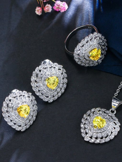 Yellow ring size 7 Brass Cubic Zirconia Luxury Heart Earring Ring and Necklace Set