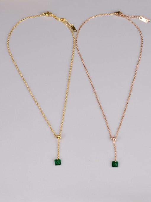 A TEEM Titanium Steel Cubic Zirconia Heart Minimalist Lariat Necklace