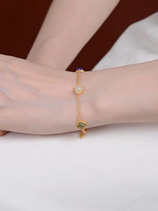 DEER 925 Sterling Silver Jade Oval Vintage Link Bracelet 1