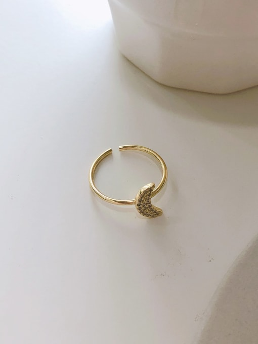 Moon ring J 1087 925 Sterling Silver Cubic Zirconia Moon Minimalist Band Ring