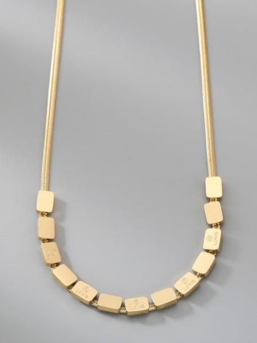 A TEEM Titanium Steel Rhinestone Square Minimalist Necklace 2