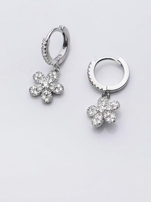 Rosh 925 Sterling Silver Rhinestone Flower Dainty Huggie Earring 1