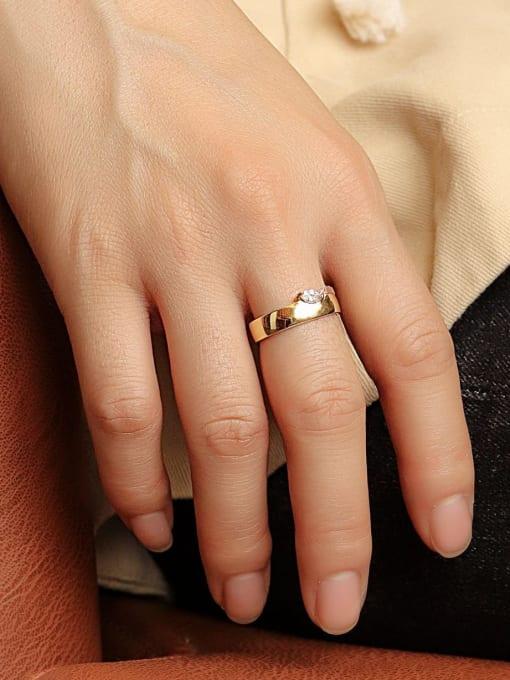 CHARME Brass Cubic Zirconia Geometric Minimalist Band Ring 1