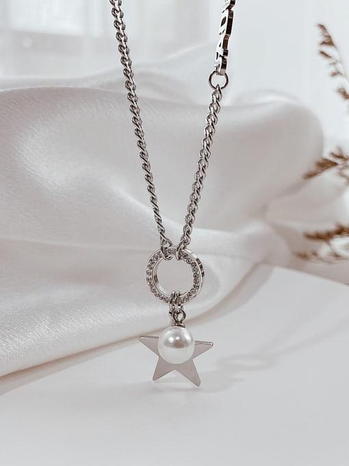Open Sky Titanium Steel Imitation Pearl Letter Hip Hop Necklace 2