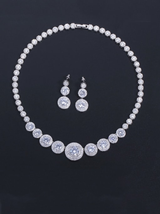 Platinum white zirconium Brass Cubic Zirconia Luxury Round  Earring and Necklace Set