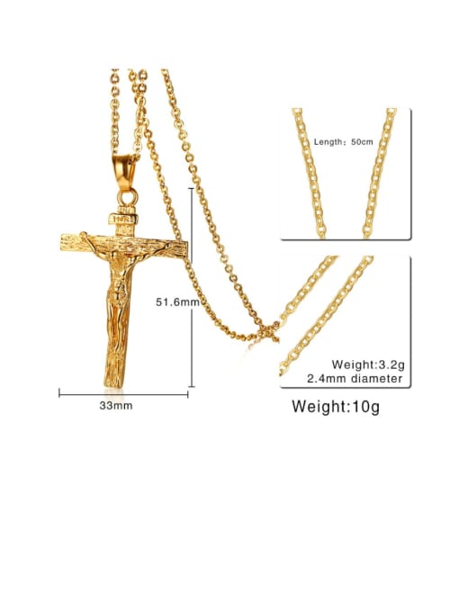 CONG Stainless steel Rhinestone Cross Vintage Regligious Necklace 1