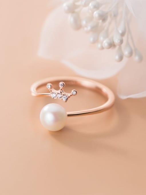 Rosh 925 Sterling Silver Imitation Pearl Crown Minimalist Band Ring 2