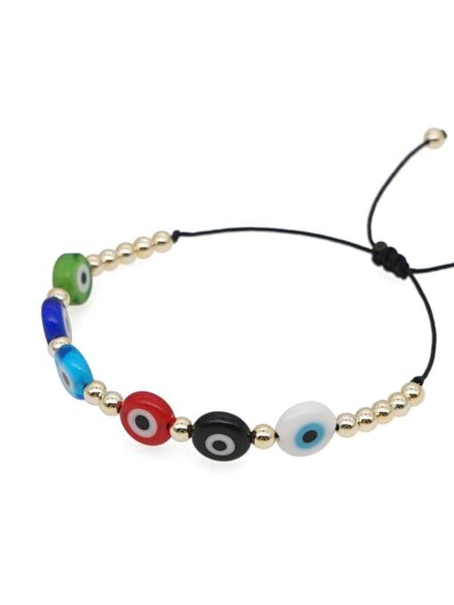 Roxi Stainless steel Glass Bead Multi Color Evil Eye Bohemia Adjustable Bracelet 2