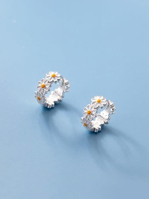 Rosh 925 Sterling Silver Flower Minimalist Huggie Earring