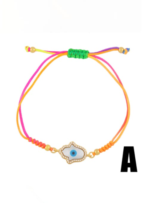 CC Brass Enamel Evil Eye Bohemia Adjustable Bracelet 0