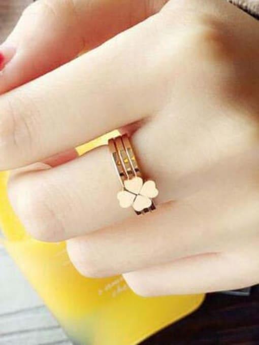 MIYA Titanium Steel Smooth  Clover Minimalist Stackable Ring 2
