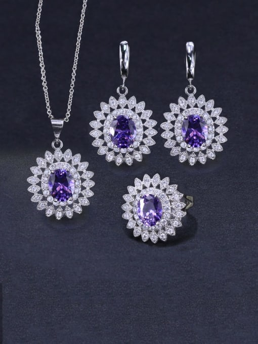 Purple orchid Ring Size 9 Brass Cubic Zirconia  Dainty Geometric Earring Ring and Necklace Set