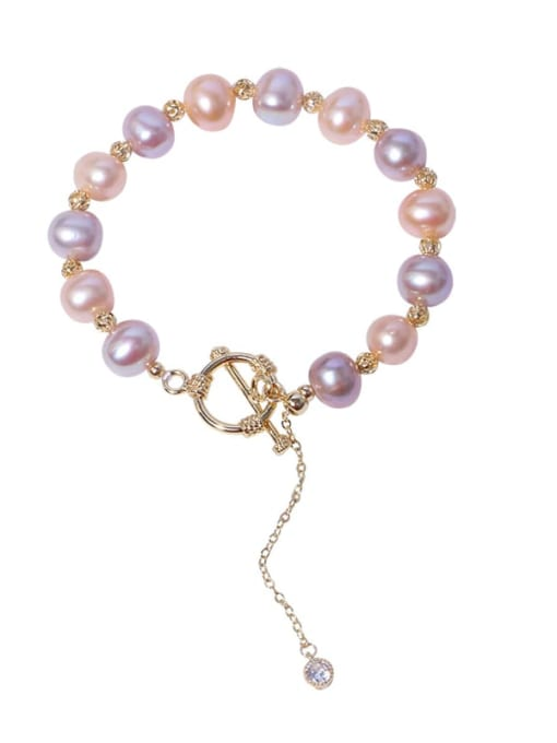 RAIN Brass Freshwater Pearl Round Minimalist Beaded Bracelet 0
